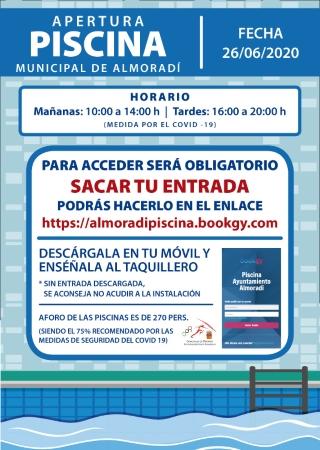 La Concejalía de Deportes de Almoradí reabre el viernes 26 de junio las piscinas municipales con entrada previa, cuya reserva se realizará de forma telemática