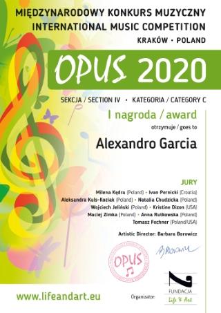 El joven músico almoradidense Alexandro García Antolinos se alza por segundo año consecutivo con el primer premio en el prestigioso II Concurso Internacional de Música 'OPUS 2020' de Polonia
