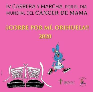 Orihuela: Inscripción en la IV Carrera y Marcha Solidaria Virtual por el Día Mundial del Cáncer de Mama 'Corre por mí, Orihuela', a beneficio de la Asociación Española Contra el Cáncer (AECC)