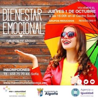 Algorfa: Taller de bienestar emocional con grupos de apoyo, organizado por el área de Servicios Sociales y la Agencia de Igualdad de la Mancomunidad La Vega