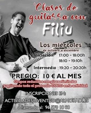 Almoradí: Inscripción al curso o taller de guitarra 2020, impartido por el cantante y compositor almoradidense Filiu