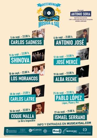Torrevieja: Concierto del cantante Carlos Sadness, con 'Tropical Jesus', dentro del ciclo 'Música y sal', dentro de la programación cultural de verano 2020, organizada por la Concejalía de Cultura
