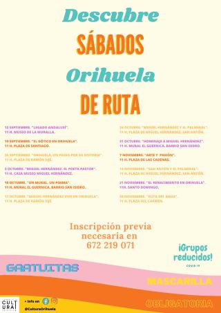 Orihuela: Ruta cultural gratuita 'Legado andalusí', dentro de los sábados de ruta 'Descubre Orihuela'