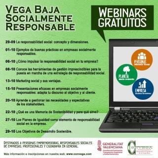 Vega Baja 'on line': Inscripción en encuentros digitales o 'webinars' gratuitos para emprendedores, responsables sociales de empresas, profesionales y todos los interesados, organizados por Convega