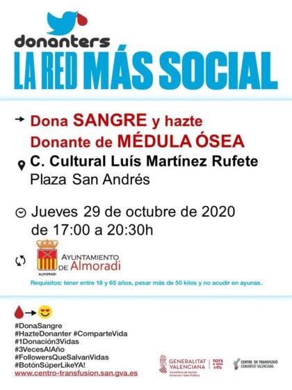 Almoradí: Donación de sangre y para hacerse donante de médula ósea, organizada por el Centro de Transfusiones de la Comunidad Valenciana