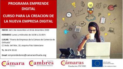 Orihuela: Inscripción al curso presencial para la creación de la nueva empresa digital, para emprendedores parados menores de 30 y mayores de 45 años, dentro del programa 'Emprende digital'