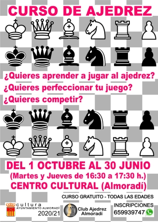 Almoradí: Curso de ajedrez gratuito para todas las edades y todos los niveles, organizado por la Concejalía de Cultura