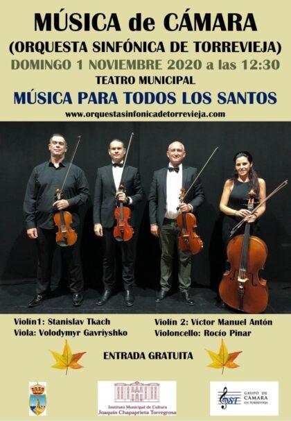 Torrevieja, evento cultural: Concierto 'Música para todos los santos', por el grupo de cámara de la Orquesta Sinfónica de Torrevieja