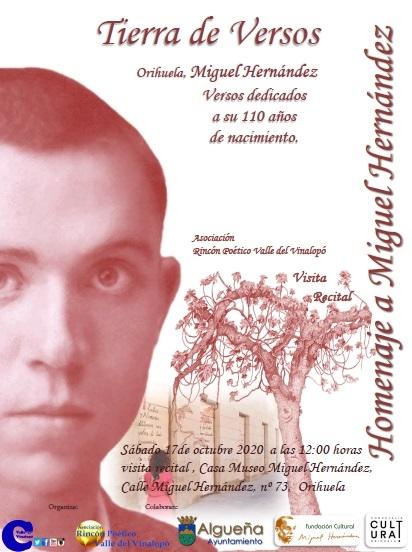Orihuela: Visita-recital 'Tierra de versos' en homenaje a Miguel Hernández, dentro del 'Otoño Hernandiano'