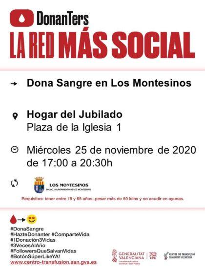Los Montesinos, evento: Donación de sangre, organizada por el Centro de Transfusiones de la Comunidad Valenciana