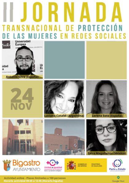 Bigastro, evento 'on line': II Jornada Transnacional de Protección de las Mujeres en las RRSS, con conferencias, dentro de los actos del Día Internacional Contra la Violencia de Género