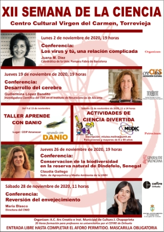 Torrevieja: Conferencia 'Los virus y tú, una relación complicada', por la catedrática Juana M. Díez, dentro de la XII Semana de la Ciencia
