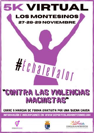 Los Montesinos, evento 'on line': Carrera virtual y gratuita de 5 kilómetros contra las violencias machistas, bajo el lema 'Échale valor'