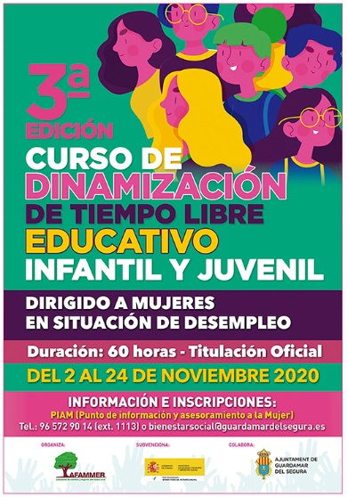 Guardamar del Segura, evento: Inscripción en el 3º curso de dinamización de tiempo libre educativo infantil y juvenil, dirigido a mujeres desempleadas