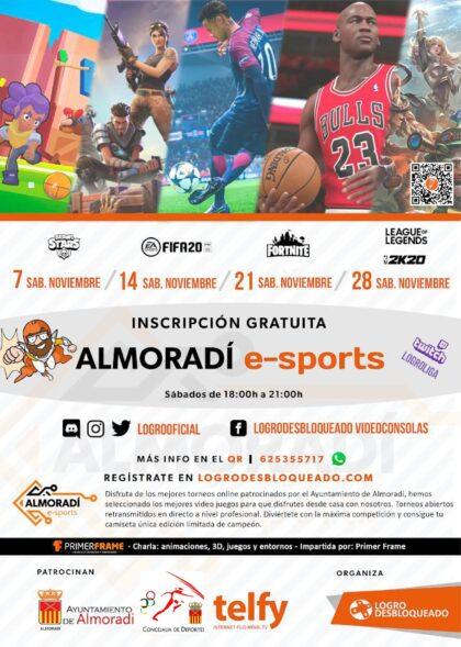 Almoradí, evento 'on line': Evento gratuito de e-sports, con torneos de videojuegos y charla sobre animaciones, 3D, juegos y entornos, por 'Primer Frame'