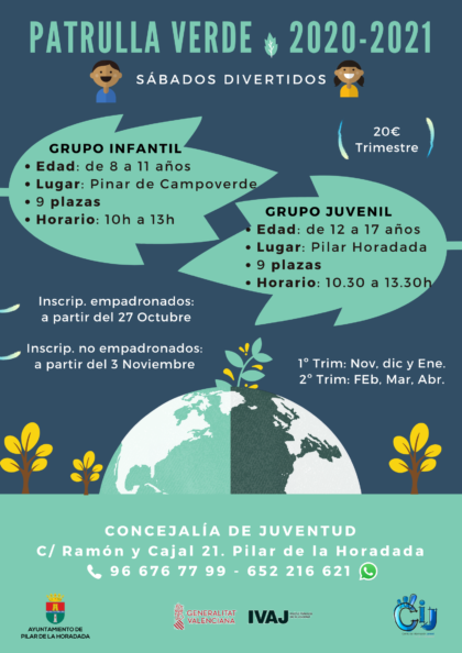 Pinar de Campoverde de Pilar de la Horadada, evento: Sábados divertidos de ocio de la 'Patrulla verde' infantil para niños de 8 a 11 años, organizados por el Centro de Información Juvenil (CIJ)