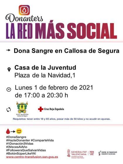 Callosa de Segura, evento: Donación de sangre, organizada por el Centro de Transfusiones de la Comunidad Valenciana