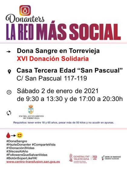 Torrevieja, evento: Donación de sangre, organizada por el Centro de Transfusiones de la Comunidad Valenciana, en la XVI Donación Solidaria