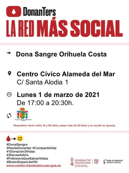 Orihuela Costa, evento: Donación de sangre, organizada por el Centro de Transfusiones de la Comunidad Valenciana