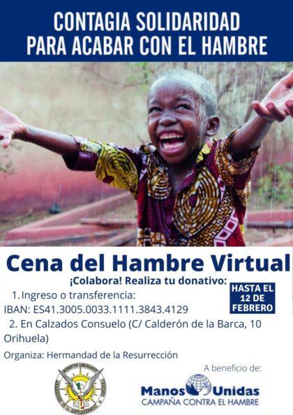 Orihuela, evento: Cena del hambre virtual a beneficio de la Campaña Contra el Hambre de Manos Unidas, organizada por la Hermandad de la Resurrección