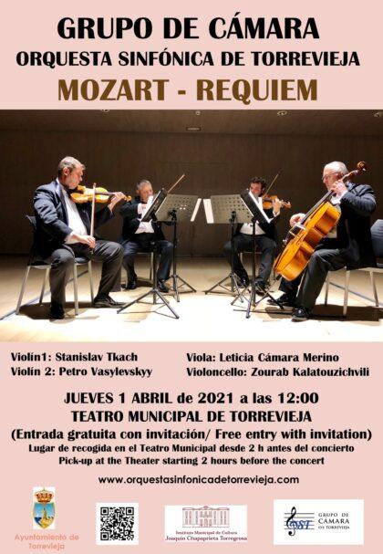 Torrevieja, evento cultural: Concierto del grupo de cámara de la Orquesta Sinfónica de Torrevieja con el 'Requiem' de Mozart, dentro del programa del primer semestre de 2021