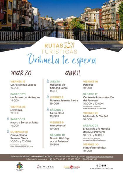 Orihuela, evento: Inscripción a las rutas turísticas guiadas 2021 'Orihuela te espera', organizadas por la Concejalía de Turismo