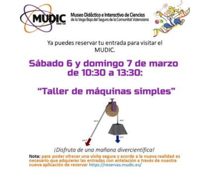 Desamparados de Orihuela, evento: 'Taller de máquinas simples' que se usan todos los días y visita guiada por el museo, organizado por el Museo de Ciencias MUDIC de la UMH