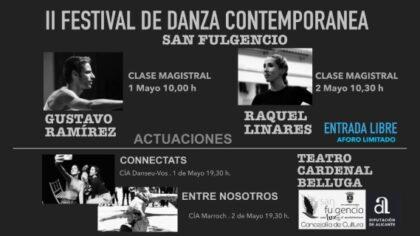 San Fulgencio, evento: Clase magistral del bailarín y coreógrafo de reconocimiento internacional, el sanfulgentino Gustavo Ramírez, dentro de los actos del II Festival de Danza Contemporánea, organizados por la Concejalía de Cultura