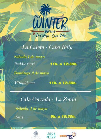 Orihuela Costa, evento: Actividad de paddle surf, dentro de la V The Winter Beach, organizada por las concejalías de Playas y Juventud