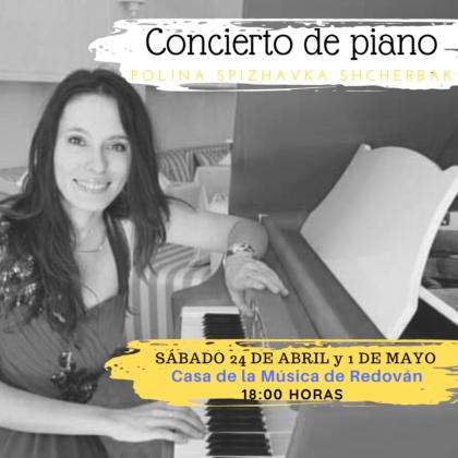 Redován, evento cultural: Concierto gratuito de piano a cargo de Polina Spizhavka Scherbak, organizado por la Concejalía de Cultura