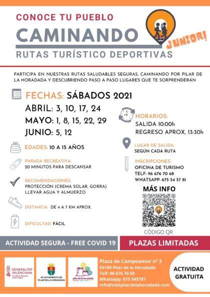 Pilar de la Horadada, evento: Inscripción a las rutas turístico-deportivas 'Conoce tu pueblo caminando' para jóvenes de 10 a 15 años, organizado por el Ayuntamiento