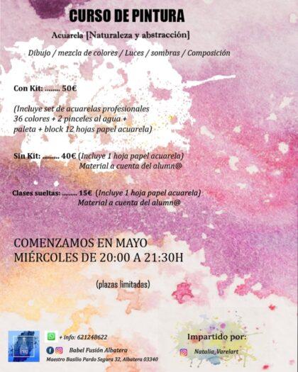 Albatera, evento: Inscripción para el curso de pintura con acuarela para dibujar, mezclar de colores, poner luces y sombras y componer naturaleza y abstracción, organizado por la cafetería 'Babel Fusión Albatera'