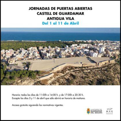 Guardamar, evento cultural: Jornadas de puertas abiertas gratuitas en el Castell y antigua Real Villa, organizadas por el Ayuntamiento y Museo Arqueológico (MAG)