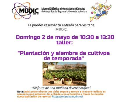 Desamparados de Orihuela, evento: Reservas para el taller 'Plantación y siembra de cultivos de temporada', organizado por el Museo de Ciencias MUDIC de la UMH