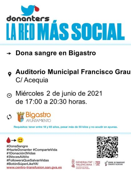 Bigastro, evento: Donación de sangre, organizada por el Centro de Transfusiones de la Comunidad Valenciana