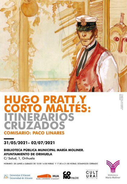 Orihuela, evento cultural: Exposición 'Hugo Prats y Corto maltés: itinerarios cruzados', dentro de la programación cultural 2021 de la Biblioteca Municipal 'María Moliner'