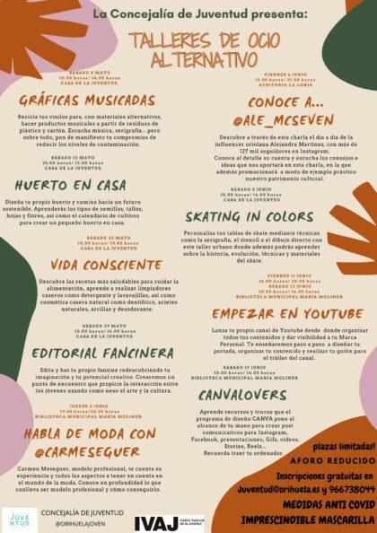 Orihuela, evento: Inscripción gratuita al programa de talleres de ocio alternativo para jóvenes de la Concejalía de Juventud