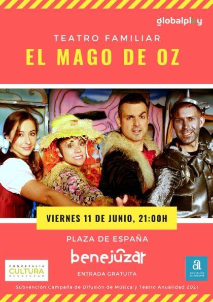 Benejúzar, evento: Representación de la obra de teatro infantil 'El mago de Oz', organizado por Globalplay Entertainment, dentro de las fiestas patronales de la Virgen del Rosario y de Moros y Cristianos
