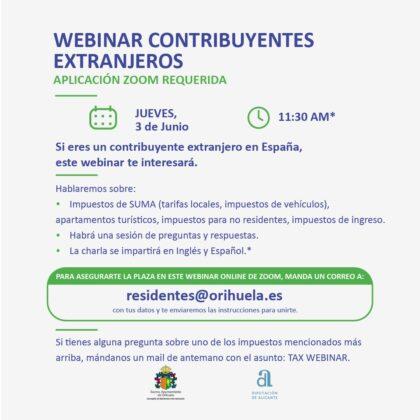 Orihuela, evento 'on line': Charla formativa 'webinar' sobre el 'Post Brexit', dirigida al residente británico en España, organizada por la Concejalía de Residentes internacionales