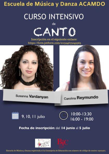 Orihuela, evento: Inscripción al curso intensivo de canto, a cargo de las sopranos Susanna Vardanyan y Carolina Reymundo, organizado por la escuela de música y danza ACAMDO