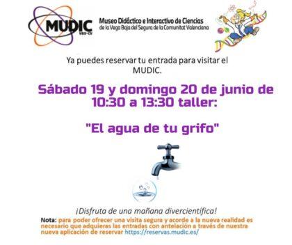 Desamparados de Orihuela, evento: Taller 'El agua de tu grifo', organizado por el Museo de Ciencias MUDIC de la Universidad Miguel Hernández (UMH)