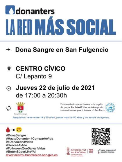 San Fulgencio, evento: Donación de sangre, organizada por el Centro de Transfusiones de la Comunidad Valenciana