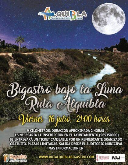 Bigastro, evento: Inscripción para la ruta nocturna gratuita 'Bigastro bajo la luna', organizada por el Ayuntamiento, dentro del proyecto turístico 'Ruta Alquibla'