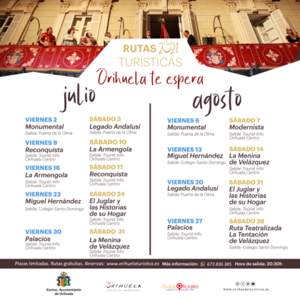 Orihuela, evento: Inscripción a las rutas turísticas guiadas y gratuitas de julio y agosto 2021 'Orihuela te espera', organizadas por la Concejalía de Turismo y Festividades