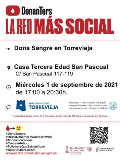 Torrevieja, evento: Donación de sangre, organizada por el Centro de Transfusiones de la Comunidad Valenciana