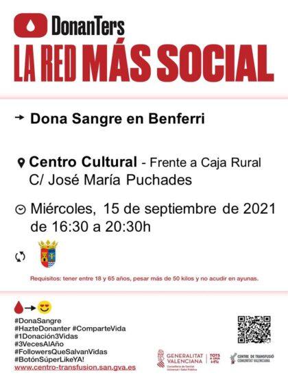 Benferri, evento: Donación de sangre, organizada por el Centro de Transfusiones de la Comunidad Valenciana