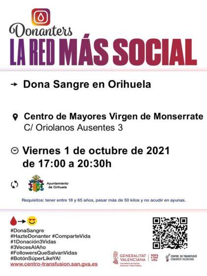 Orihuela, evento: Donación de sangre, organizada por el Centro de Transfusiones de la Comunidad Valenciana