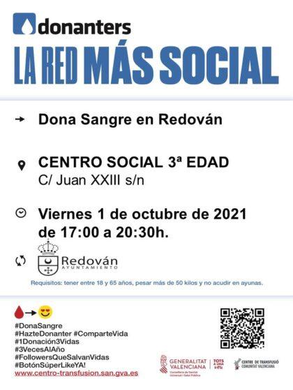 Redován, evento: Donación de sangre, organizada por el Centro de Transfusiones de la Comunidad Valenciana