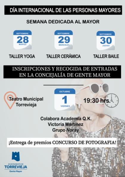 Torrevieja, evento cultural: Espectáculo en homenajea los mayores, con las actuaciones de la academia Q.K. de La Mata, de Victoria Martínez y del grupo Noray, dentro de las actividades del Día Internacional de las Personas Mayores