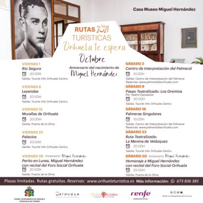 Orihuela, evento: Ruta turística y gratuita 'Río Segura', dentro de las rutas turísticas de octubre 2021 'Orihuela te espera', organizadas por la Concejalía de Turismo